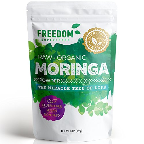 Moringa Powder - Pure Organic Oleifera Leaf - Premium Ultra Fine Grade - Best for Tea & Smoothies - Gluten-Free, Vegan & Non-GMO - 1lb/ 16oz