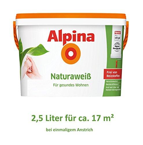 Alpina Natura Weiss 2,5 Liter Wandfarbe Weiß frei von Reizstoffen, Kinderzimmer