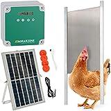 Agrarzone Porte de poulailler solaire automatique avec trappe 30 x 40 cm | avec minuterie et capteur de lumière | 230V, piles et solaire | un élevage de poules sécurisé