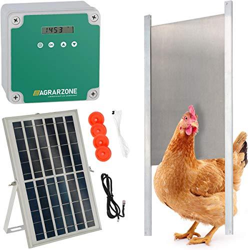 Agrarzone automatische Solar Hühnertür Hühnerklappe mit Schieber 30 x 40 cm | Türöffner Hühnerstall mit Zeitschaltuhr & Lichtsensor | 230V, Batterie & Solar | Hühnerstall-Tür für sichere Hühnerhaltung