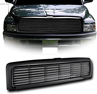 VXMOTOR for 1994-2001 Dodge Ram 1500 ; for 1994-2002 2500/3500 Glossy Black Blk Horizontal Front Hood Bumper Grill Grille Kit Cover Guard Replacement Conversion ABS