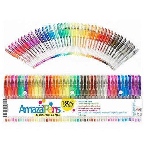 AmazaPens Gel Coloring Pens - 40 Pack Super Glitter | Ideal for Home Schooling | Best for Adding Sparkle to Your Adult Coloring Books and Art Projects