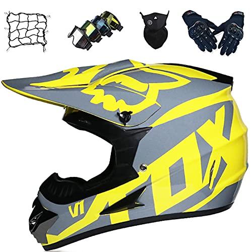 Aidasone Casco Motocross, YEDIA-01 Casco Moto Niños y Adultos con Diseño Fox, Casco de Motocicleta de Integral Set para Enduro BMX Dirt Bike Scooter con Gafas/Guantes/Máscaras/Bungy Net,XL