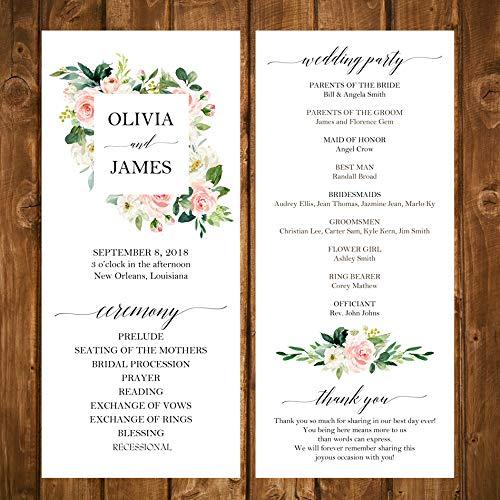 Amazon Com Wedding Program Elegant Blush Floral Collection With Any Wording Printed Handmade