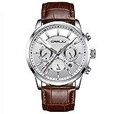 Cuena Homme Montres Cuir analogique Montre à Quartz Homme Date Business Robe Montre-Bracelet pour Homme Étanche Sport Horloge