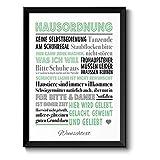 HAUSORDNUNG - Bild mit humorvollen Hausregeln - Rahmen