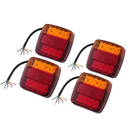 Luz Trasera Remolque 4PCS LED Pilotos Traseros Impermeable IP65 Luz de Freno Luz de Giro Lampara de Matricula Indicador Homologado Multifunción para Remolque Camión Vehiculos Pesados