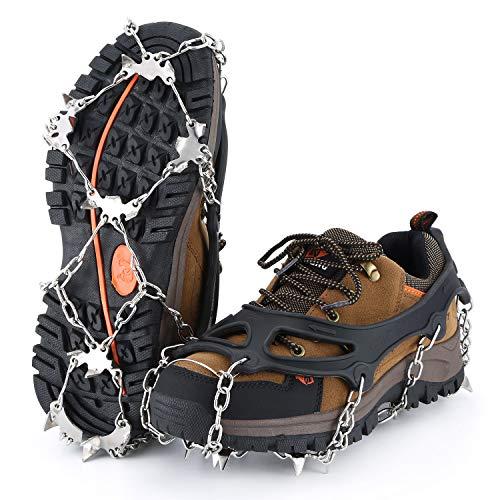 OUTAD Steigeisen, Steigeisen für Bergschuhe (1 Paar) Schuh Spikes Silikon Schneeketten mit 18 Zähne Edelstahl, Anti Rutsch Spikes für High Altitude Wandern EIS Schnee