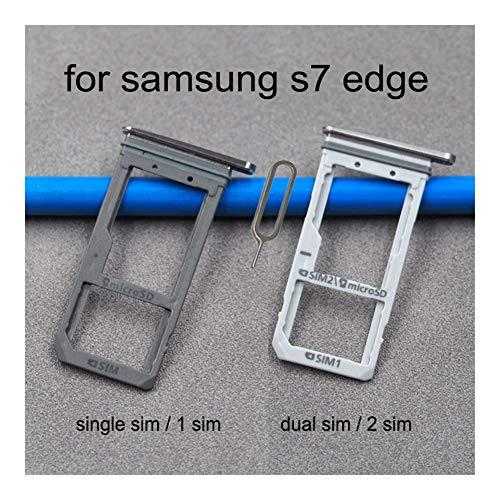 JLZK Buen Estado Ranura Doble Tarjeta SIM For el Adaptador sostenedor de la Bandeja de Tarjeta SD Samsung G935 S7 Edge G935F Galaxy G935FD G935A Original Vivienda Teléfono Micro Tarjetas.