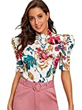 Romwe Women's Elegant Pearl Embellished Puff Short Sleeve Embroidered Blouse Tops (Medium, Floral Print)