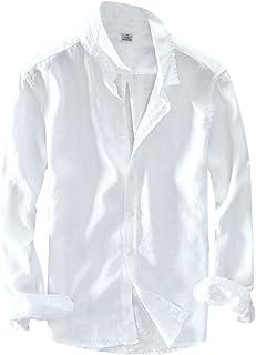 5ee9947d1b48a PengGengA Chemise Slim en Lin Homme Manches Longues Slim Fit Couleur Unie  Chemise Tops À Bouton