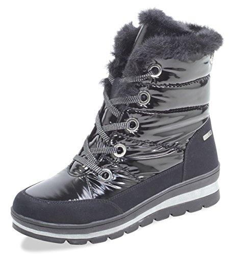 CAPRICE Damen Winterstiefel 26221-21,Frauen Winter-Boots,Fellboots,Fellstiefel,gefüttert,warm,Tex Decksohle,4cm,Black Comb,UK 4