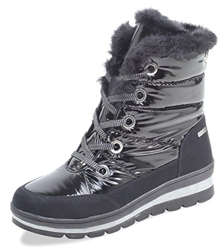 CAPRICE Damen Winterstiefel 26221-21,Frauen Winter-Boots,Fellboots,Fellstiefel,gefüttert,warm,Tex Decksohle,4cm,Black Comb,UK 4,5