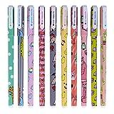 Ciaoed Plumas de Gel Color Escritura 10 Color- Bolígrafos de Gel Kawaii,Para Caligrafía Regalo de Cumpleaños Escolar Artículos de Papelería para Estudiantes