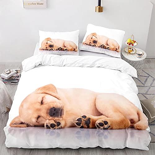 Cachorro Mascota Labrador Retriever Juego de Funda Nórdica Impreso en 3D de Microfibra con 2 Fundas de Almohada Juego de Cama de Adolescentes con Cierre de Cremallera-240x260