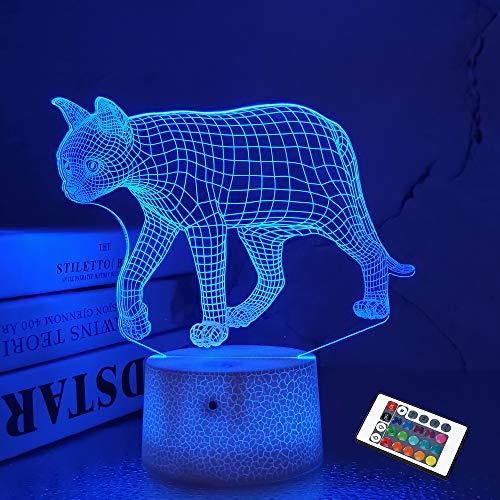 FULLOSUN Cat 3D Illusion Night Light Touch Table Desk Lamp, 16 Colors Optical USB LED Nightlight