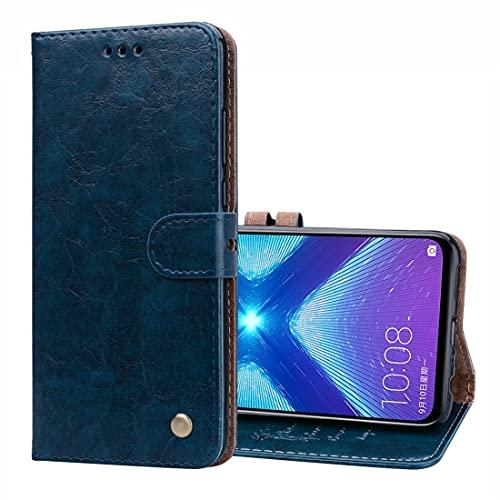 MOYOFEE JYMD Caja de Cuero Horizontal de la Textura de la Textura del Aceite de la Cera del Estilo de la ACD para Huawei-Honor 8X, con Soporte y tragamonedas y Billetera (Color : Blue)