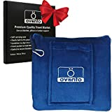 """Ovanto Navy Blue Travel Blanket - Premium Compact Pack Airplane Pillow Blanket with Backpack Clip, Pocket and Hand Luggage Belt - Lightweight, Warm, Durable and Portable 4 in 1 Fleece Blanket 44""""x60"""""""
