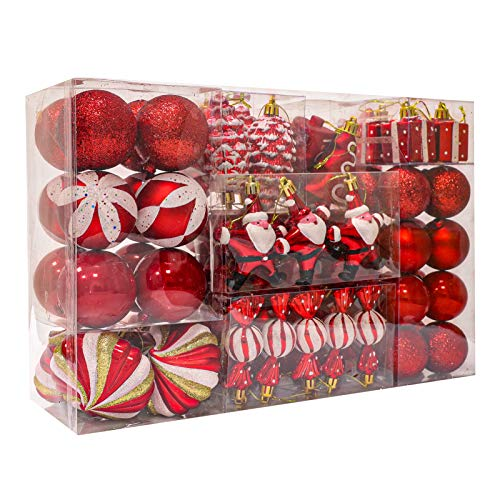 WBHome 105ct Assorted Christmas Ball Ornaments Set - RED, 2020, Shatterproof Decorations Christmas Tree Ornaments, Hooks Included