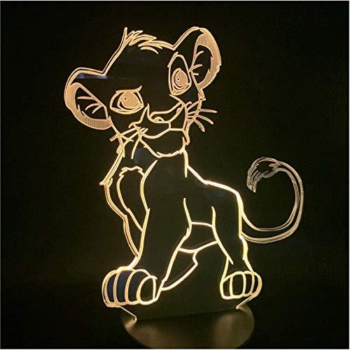 Bande dessinée Veilleuse Le Roi Lion Simba LED 3D Lumière Changement de Couleur Nouveauté Lampe Chambre Lampe De Chevet pour Cadeau De Noël Maison