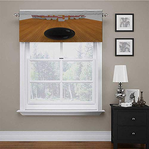 carmaxs Kitchen Valances for Windows Bowling Party for Small/Kitchen/Bathroom Window Bowling Alley with Skittles and Ball in Position Hobby Print 54' x 12' Pale Brown Black White