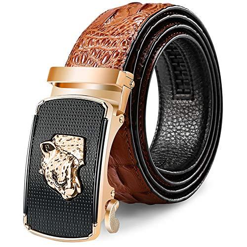 Fgurtu Gürtel, Gurt der Männer, Leopard-Kopf-Krokodilleder automatische Schnalle Gürtel, Größe 120 cm