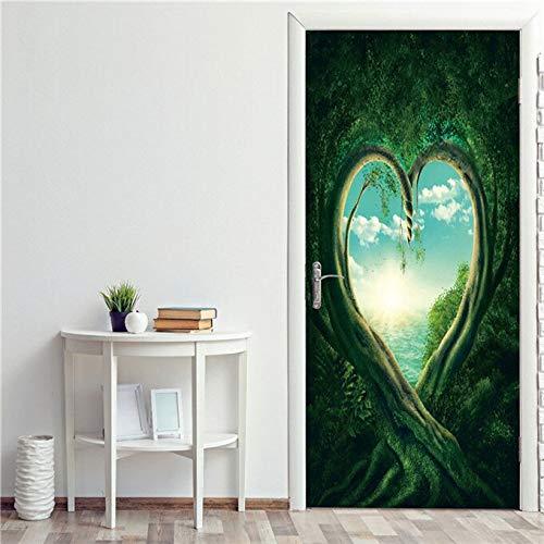DFKJ Papel Pintado 3D de árbol de Bosque Verde Pegatina de Puerta autoadhesiva Pegatina de Puerta calcomanía Paisaje Mural Cartel de decoración del hogar A4 77x200cm
