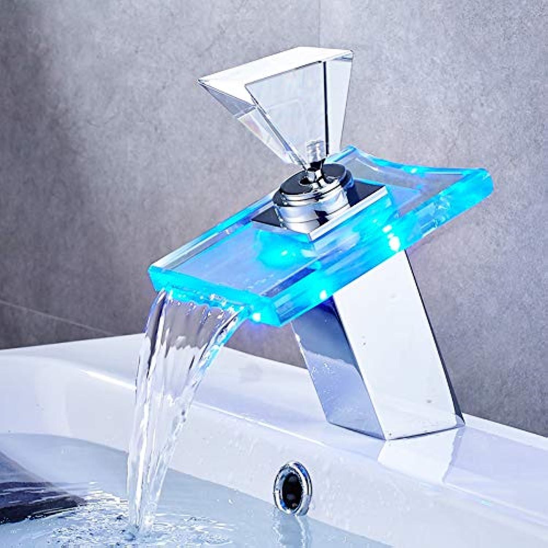 ZHFJGKR&ZL Spültischarmatur Led Licht Becken Wasserhahn Bad Wasserfall Wasserhhne Temperatur Farbe ndern Einzigen Loch Deck Montiert Wasser Waschbecken Wasserhahn