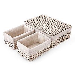 SAWAKE Lot de 3 Paniers de Rangement Tissés Rectangulaires en Rotin Imité