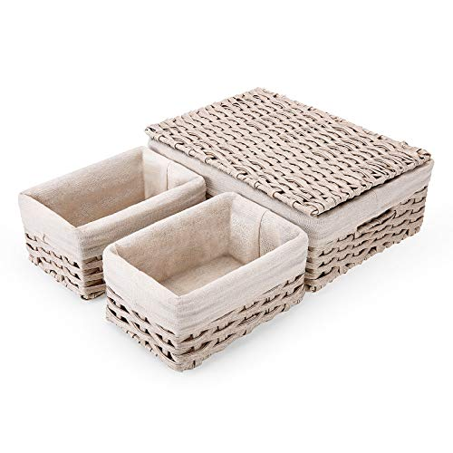 Wicker Storage Baskets with Lid and Handles SAWAKE Woven Shelf Baskets Set for Storage Organizing Handmade Decorative Storage Bins for Bedroom Shelf Closet Set of 3 Beige