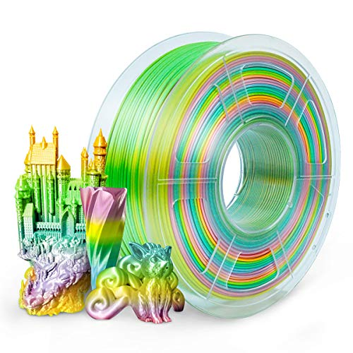 SUNLU PLA+ Filament 1.75mm Silk Rainbow Multicolor for FDM 3D Printer, 1KG/Spool PLA Plus Shiny Silk Rainbow