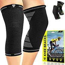 Langov Compression Knee Sleeves for Knee Pain for Women & Men (Pair), Knee braces, Stabilizer Wraps For Weightlifting ,Running, Working Out, Knee Support Relieves Pain from MCL, ACL, Arthritis