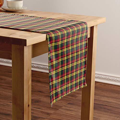 CICIDI Clan Buchanan - Camino de mesa corto de tartán escocesa, color verde y amarillo, para fiestas, cenas, vacaciones, cocina, 33 x 70 pulgadas