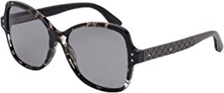 Bottega Veneta - DNA BV0045S, Geometric, [nd], women, DARK GREEN HAVANA/GREY POLARIZED(002 XX), 56/17/145