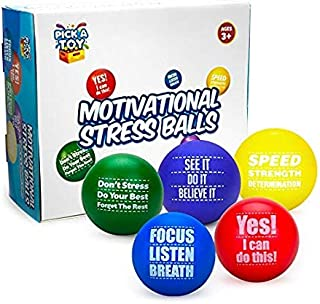 Pick A Toy Motivational Stress Balls for Kids and Adults (5-Pack) Promote Anxiety and Stress Relief   Motivate and Inspire Students, Staff, Teams   Squishy, Assorted Colors