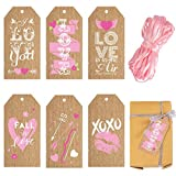Whaline Valentine's Day Paper Gift Tags 6 Design Pink Corrugated Paper Tags with Pink String 90Pcs Love Heart Hanging Labels for Wedding Anniversary DIY Gift Crafts Valentine's Day Party Favor, 2 x 4'
