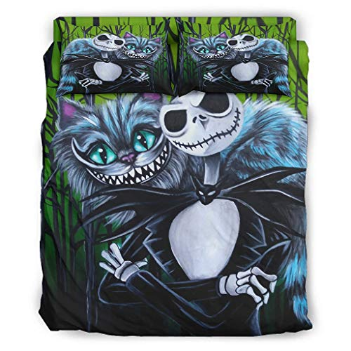 Hyobeswe Jack and Cheshire Cat Nightmare Before Christmas Halloween Four-Piece Bed Set Breathable 4 Bedding Cover Set Include 1 Comforter Cover 1 Bed Sheets 2 Pillowcases Us Full Bedding White Twin