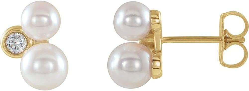 Akoya Cultured Pearl and 1/8 Cttw Diamond Stud Earrings (7.7mm x 6.9mm) (.13 Cttw)
