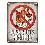 trendaffe - Metallschild mit Kein Hundeklo Motiv und Spruch: Hier Bitte Nicht!!!