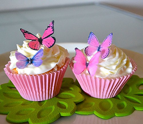 Edible Butterflies - Small Assorted Pink and Purple Set of 24 - Cake and Cupcake Toppers, Decoration
