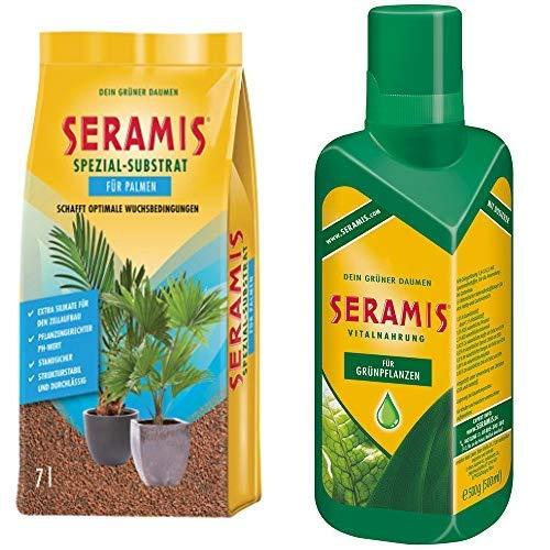 Seramis Ton-Granulat als Pflanzenerden-Ersatz für Palmen, Spezial-Substrat, 7 Liter & Flüssiger Pflanzendünger mit Dosierhilfe für alle Grünpflanzen, Vitalnahrung, 500 ml, Grün