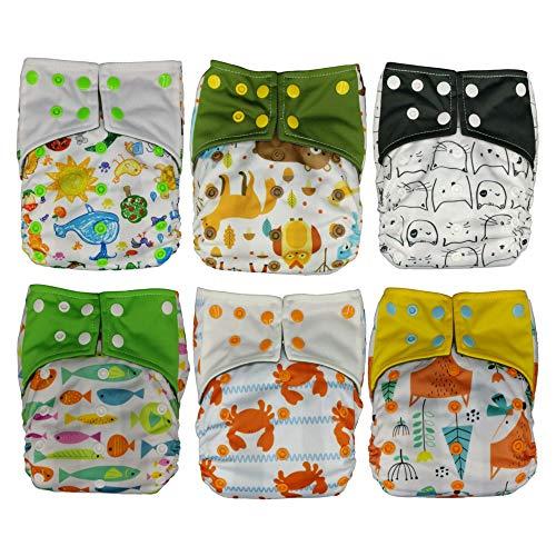 Pannolini lavabili riutilizzabili per bambino KoalaBabyGo in Bamboo doppio elastico interno a prova di perdite per neonato inserto estraibile 5 strati super assorbenti traspiranti (kit 6 pezzi misto)
