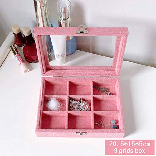 Stijlvolle eenvoud 20,5 * 15 * 5 Cm roze sieraden Display Box Case voor ringen oorbellen armbanden kettingen of andere ornamenten opslag organisator, DZ 9 Grids Box