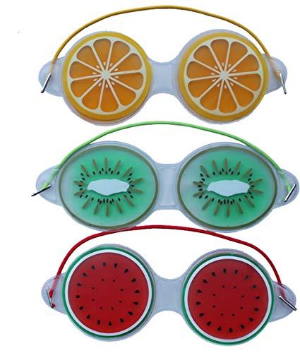 MoonyLI 3 Pcs Gel Masque pour Les Yeux Refroidissement Masque pour Les Yeux Gel Réutilisable Masque pour Les Yeux Glace Masque pour Les Yeux Coussin De Spa pour Les Yeux Motif De Fruits