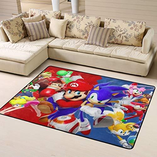Sonic And Mario Super Soft Teppich Wohnzimmer Schlafzimmer Küche Kinderzimmer Bequem Art Deco Polyester Teppich 160 x 122 cm