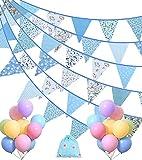 Longwu 36ft Bandiere triangolari in tessuto, 42 bandierine + 18 palloncini pastello per feste di compleanno, baby shower, festival, asilo nido, decorazione da appendere all'aperto(Blu)