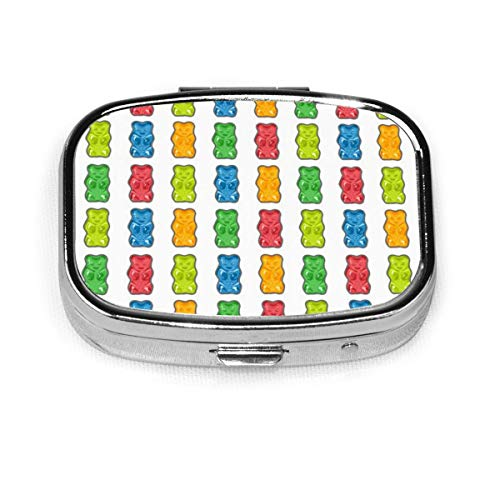 Pill Container Medicine Box Metal Pill Box Travel Pill Decorative Case to Hold Vitamins/Supplements for Purse/Pocket,Rainbow Gummy Bears