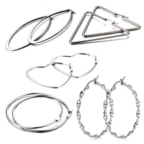 Oidea Orecchini per Donna orecchini in acciaio inox esagerati Hollow vuoti forma cuore,grande anello orecchie,ovale,triangolo argento(5 coppie)