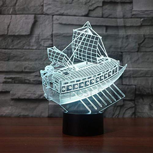 Zyue Sailing Boat 3D Night Light Led 7 Color Change Desk Lamp Room Lights Led Gift Lamp,Remote Touch switch