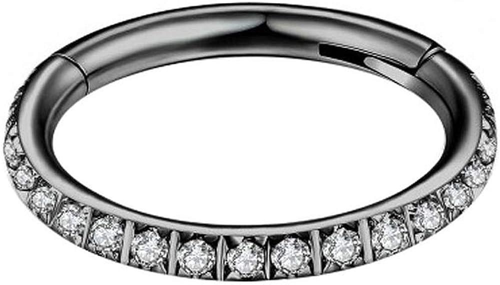 Stainless Steel Hinged Nose Rings - 1pc Cartilage Hoop Earring with Cz - Hoop Nose Ring/Conch Piercing Jewelry Hoop/Daith Hoop Earring